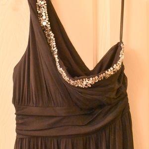 Jodi Kristopher Blue & Beaded Formal Dress